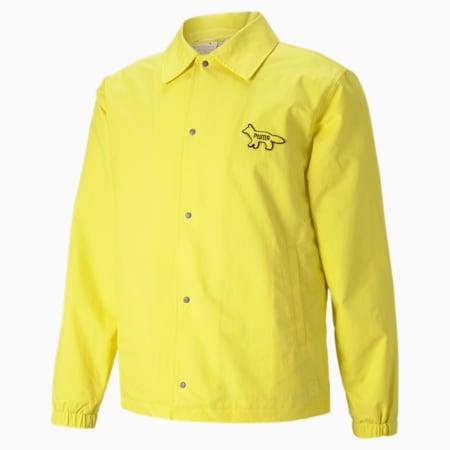 PUMA x MAISON KITSUNÉ Unisex Coach Jacket, Lemon Chrome, small