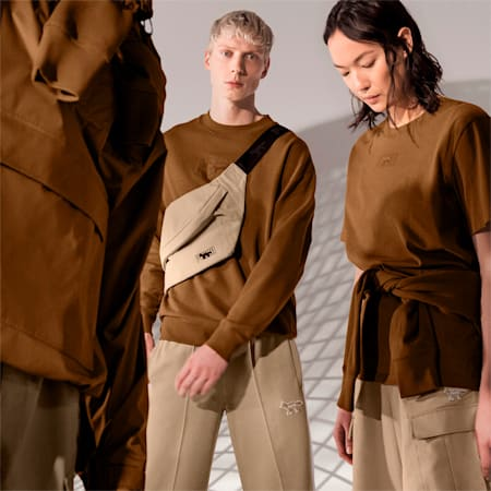 PUMA x MAISON KITSUNÉ Unisex Sweatshirt mit Rundhalsausschnitt, Monk's Robe, small