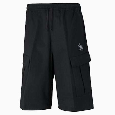 PUMA x MAISON KITSUNÉ Men's Cargo Shorts, Puma Black-AOP, small