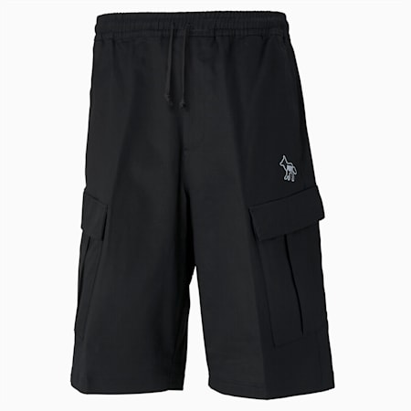 Shorts cargo PUMA x MAISON KITSUNÉ uomo, Puma Black-AOP, small