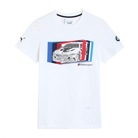 BMW M Motorsport Car Graphic Kid's   T-shirt, Puma White, small-IND