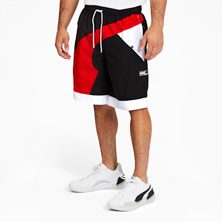 RS-B Men's Woven Shorts, Puma Black-Fiery Red, small