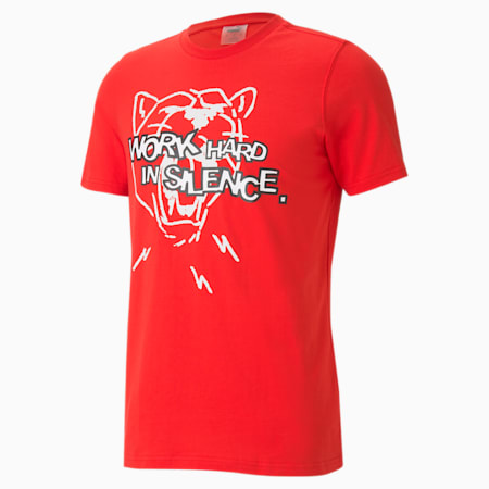 バスケットボール フランチャイズ グラフィック 半袖 Tシャツ, High Risk Red, small-JPN