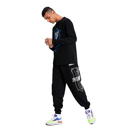 Franchise Street Long Sleeve Men's Basketball T-Shirt, Puma Black, small-IND