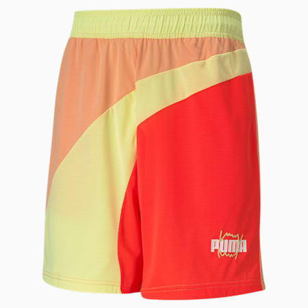 Flare Men's Basketball Shorts, Fiery Coral, small