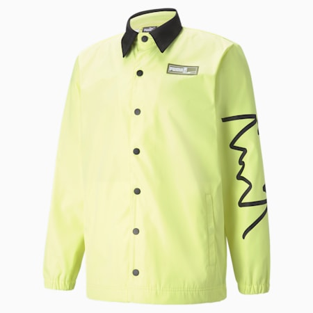 Coaches Men's Basketball Jacket, SOFT FLUO YELLOW, small