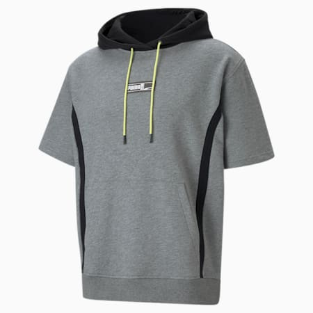 Franchise Short Sleeve Men's Basketball Hoodie, Medium Gray Heather, small