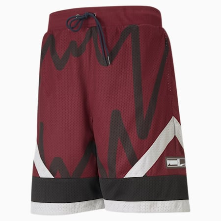 Jaws Men's Mesh Basketball Shorts, Zinfandel, small
