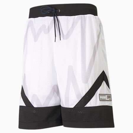Jaws Men's Mesh Basketball Shorts, Puma White, small