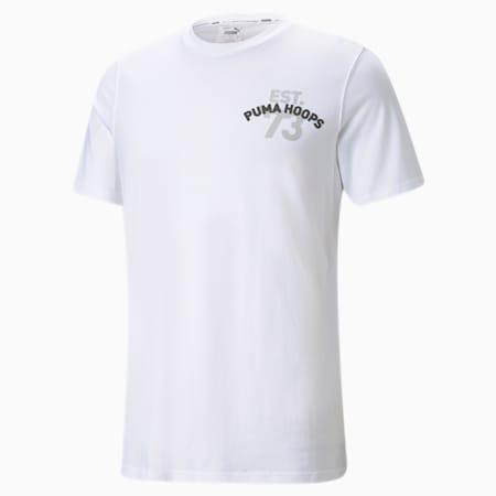 T-shirt de basketball à manches courtes, franchise, homme, Blanc Puma, petit