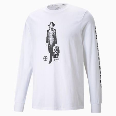Męski T-shirt koszykarski z długim rękawem Franchise, Puma White, small