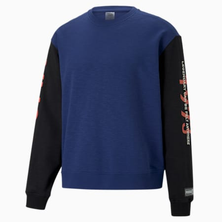 Colorblocked Men's Basketball Crewneck Sweatshirt, Elektro Blue, small