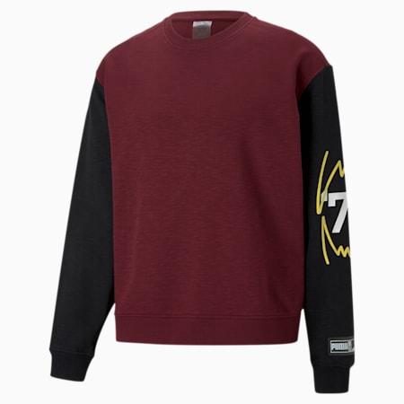 Colour Blocked Crew Neck Men's Basketball Sweatshirt, Zinfandel, small-GBR