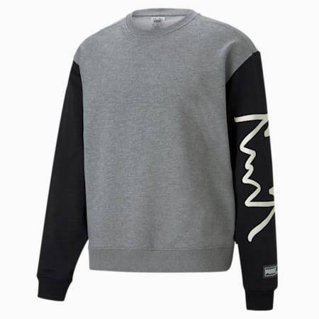 Colour Blocked Crew Neck Men's Basketball Sweatshirt, Medium Gray Heather, small