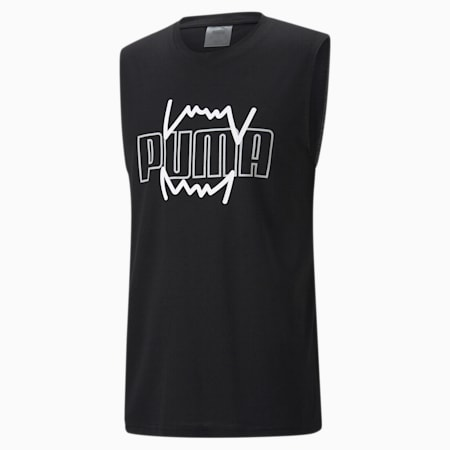Camiseta de baloncesto sin mangas Triple Double para hombre, Puma Black, small