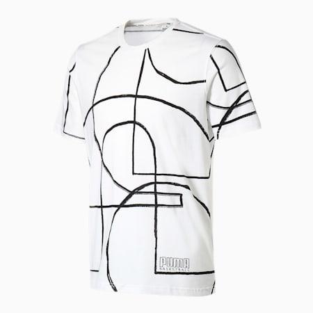 バスケットボール コート AOP 半袖 Tシャツ, Puma White, small-JPN