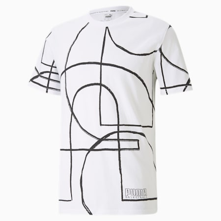 Court All-Over Printed Men's Basketball T-Shirt, Puma White, small-IND