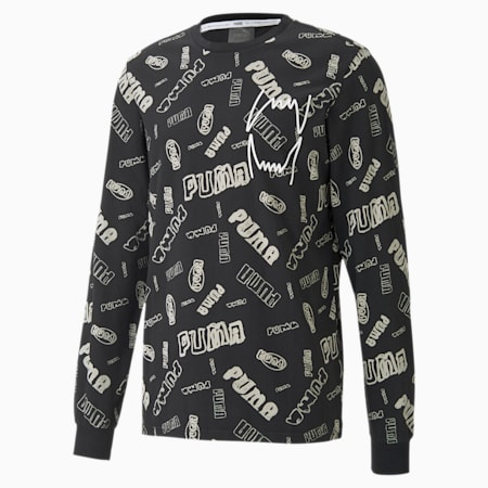 Hoops All-Over Printed Long Sleeve Men's Basketball T-Shirt, Puma Black, small-IND
