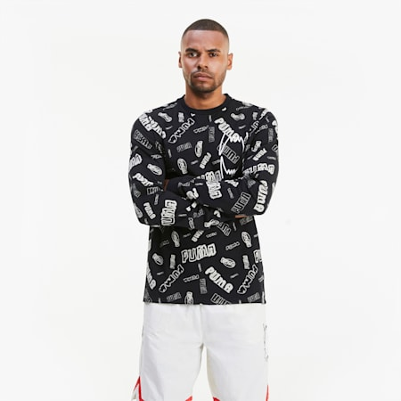Hoops Allover-Print Herren Basketball Langarm-Shirt, Puma Black, small