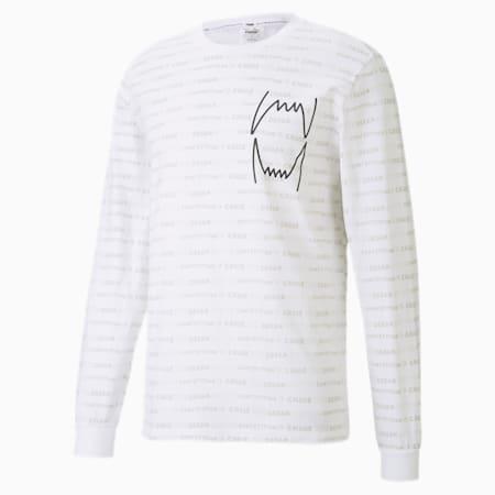 Hoops Allover-Print Herren Basketball Langarm-Shirt, Puma White, small