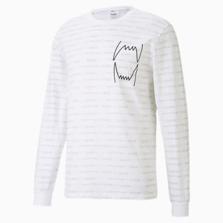 Hoops All-Over Printed Long Sleeve Men's Basketball Tee, Puma White, small