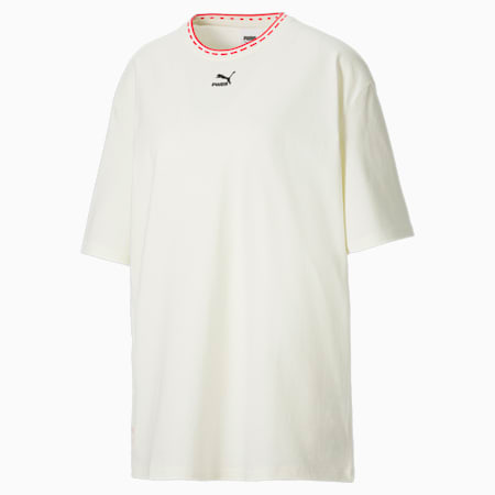 Camiseta de corte rectangular PUMA x PUMA para mujer, Marshmallow, small