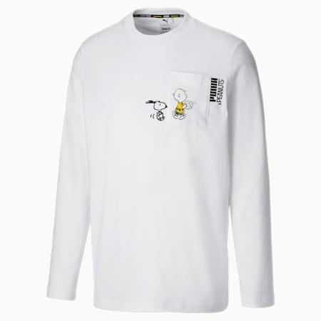 Camiseta de manga larga PUMA x PEANUTS para hombre, Puma White, small