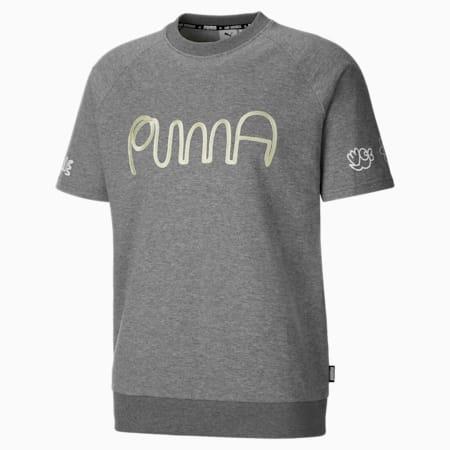 PUMA x MR DOODLE Herren Kurzarm-Sweatshirt, Medium Gray Heather, small