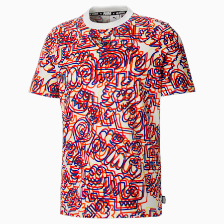 PUMA x MR DOODLE Printed Men's  T-shirt, Puma White-AOP, small-IND