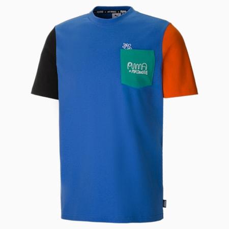 Męski T-shirt PUMA x MR DOODLE w bloki kolorów, Ultramarine, small