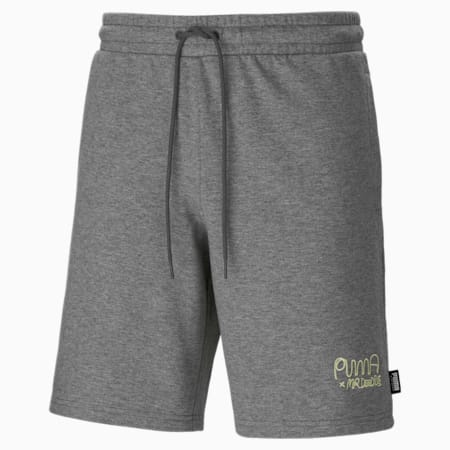 PUMA x MR DOODLE Men's Shorts, Medium Gray Heather, small