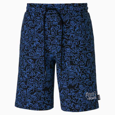 PUMA x MR DOODLE Printed Herren Shorts, Puma Black-AOP, small