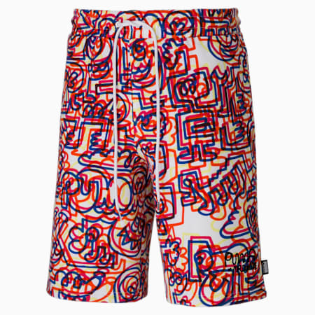 PUMA x MR DOODLE Printed Men's Shorts, Puma White-AOP, small