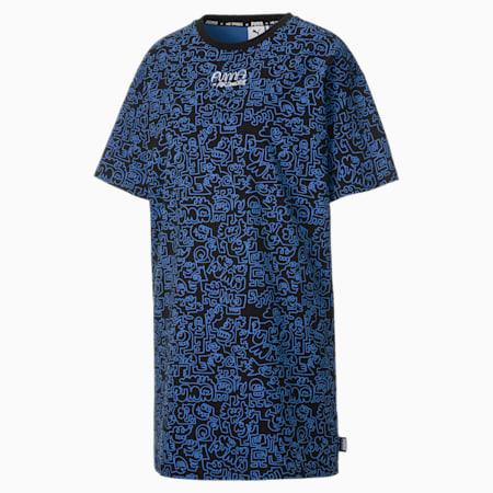 PUMA x MR DOODLE Women's Printed Tee Dress, Puma Black-AOP, small