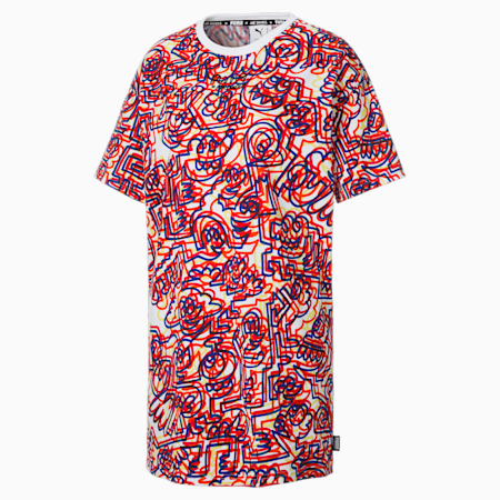 PUMA x MR DOODLE Women's Printed Relaxed Dress T-shirt, Puma White-AOP, small-IND