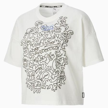 Camiseta holgada PUMA x MR DOODLE para mujer, Puma White, small