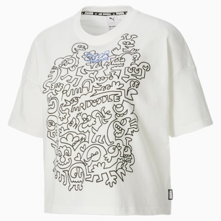 Damski T-shirt PUMA x MR DOODLE o luźnym kroju, Puma White, small
