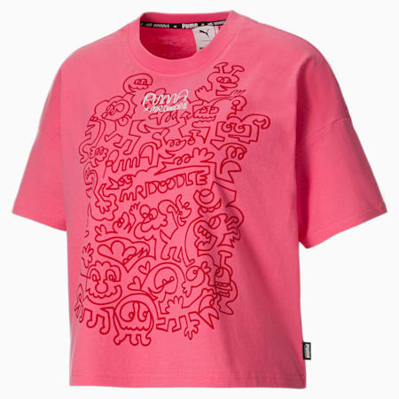 PUMA x MR DOODLE Women's Loose Tee, Bubblegum, small