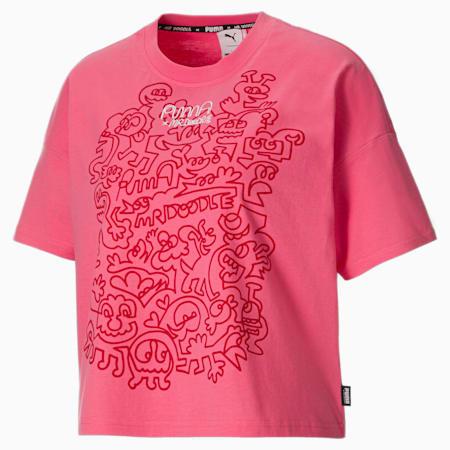 PUMA x MR DOODLE loose T-shirt dames, Bubblegum, small