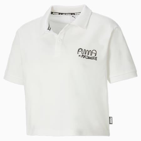PUMA x MR DOODLE Damen Poloshirt, Puma White, small