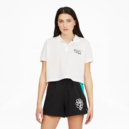 Camiseta tipo polo PUMA x MR. DOODLEpara mujer, Puma White, pequeño