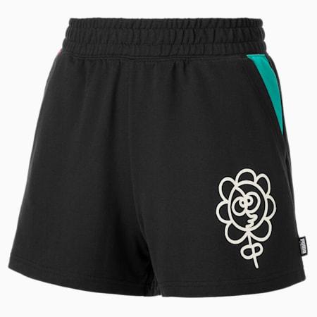 PUMA x MR DOODLE Women's Shorts, Puma Black, small-SEA