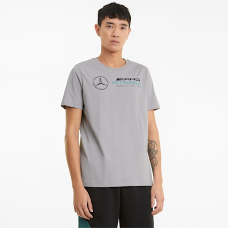 T-shirt con logo Mercedes F1 uomo, Mercedes Team Silver, small