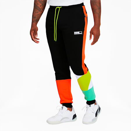 Formstrip Men's Knit Pants, Puma Black-Limepunch, small