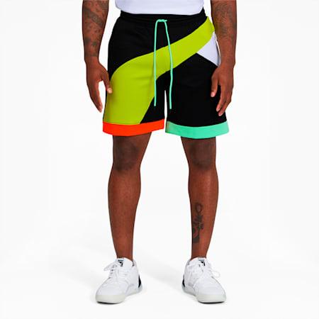 Formstrip Men's Knit Shorts, Puma Black-Limepunch, small