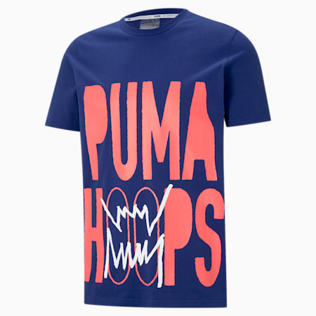 PUMA Hoops Men's Basketball Tee, Elektro Blue, small