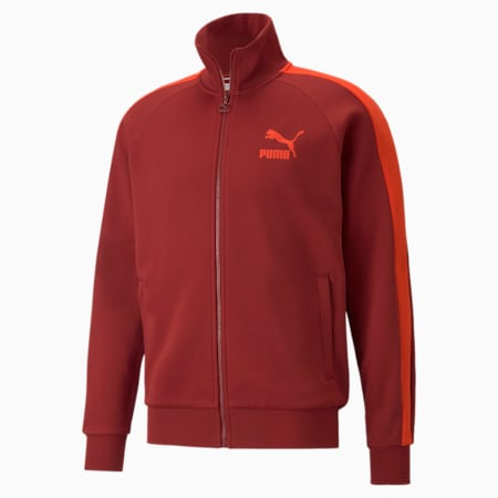 Iconic T7 Double Knit Men's Track Jacket, Intense Red, small-GBR
