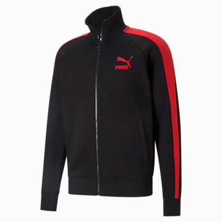 Iconic T7 Double Knit Men's Track Jacket, Puma Black-High Risk Red, small