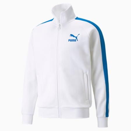 Iconic T7 Double Knit Men's Track Jacket, Puma White-Future Blue, small