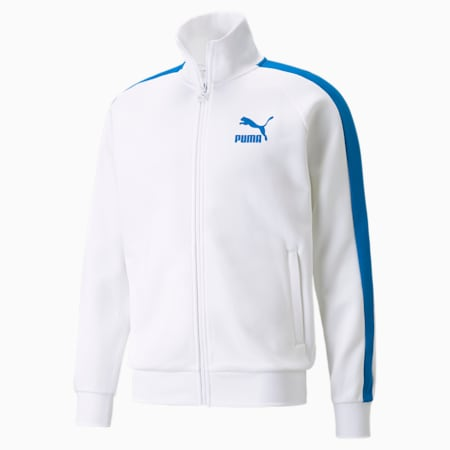 Iconic T7 Double Knit Men's Track Jacket, Puma White-Future Blue, small-GBR